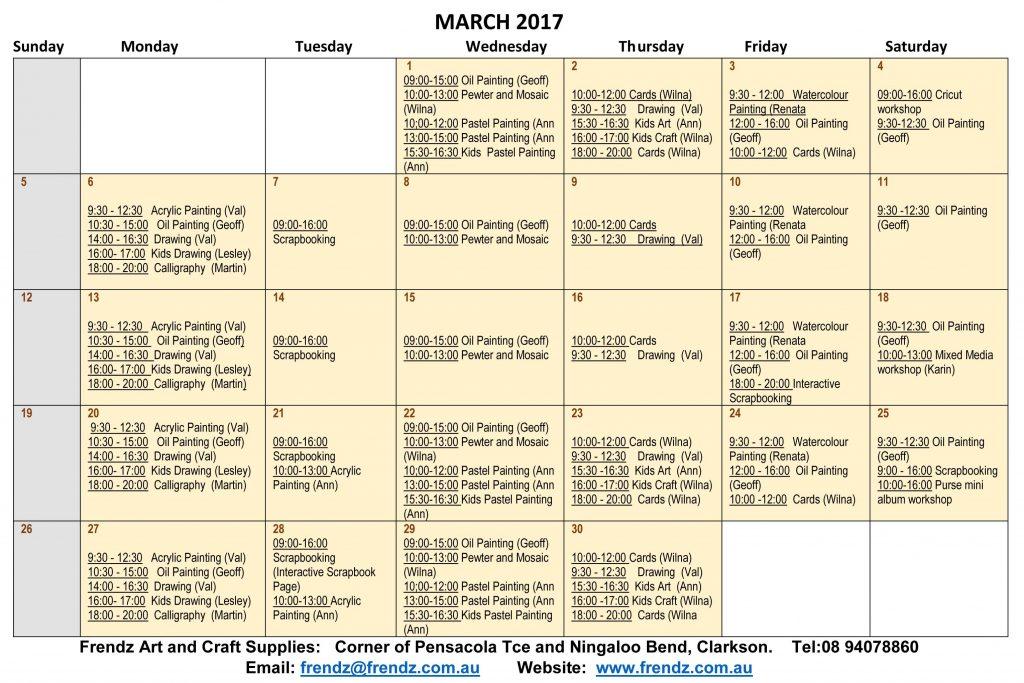 March 2017 Workshops program